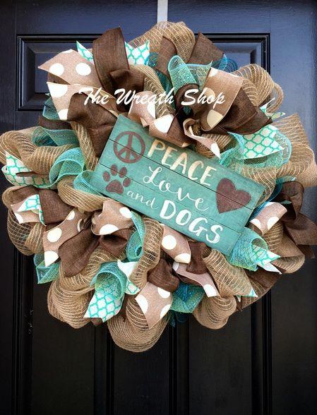 Peace Love Dogs Wreath at thewreathshop.com Burlap Dog Wreath
