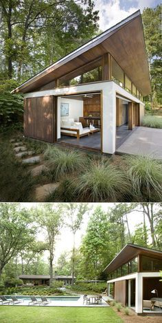 This little pool house is designed to provide protected living and entertainment spaces and to accommodate overnight guests. | Tiny Homes