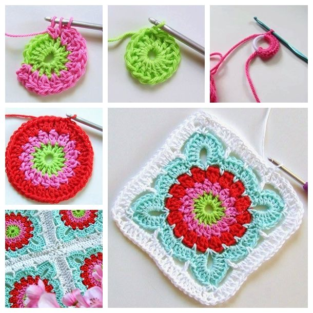 crochet flower blanket F