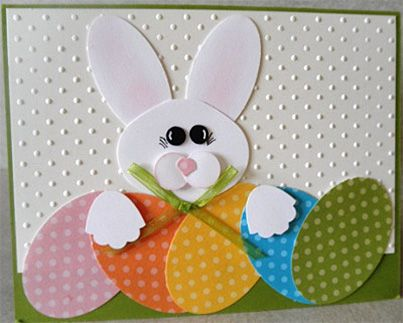 Adorable Bunny with polka dot eggs Easter card