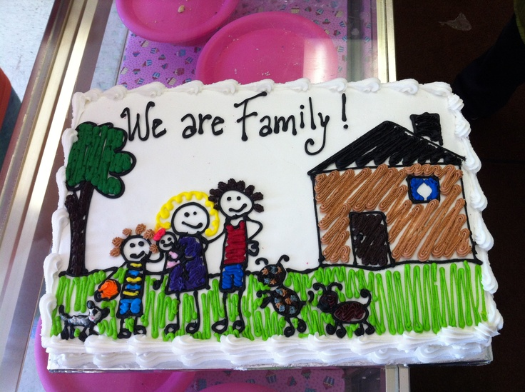Adoption cake...love the color book look for child like art reference. Too perfect
