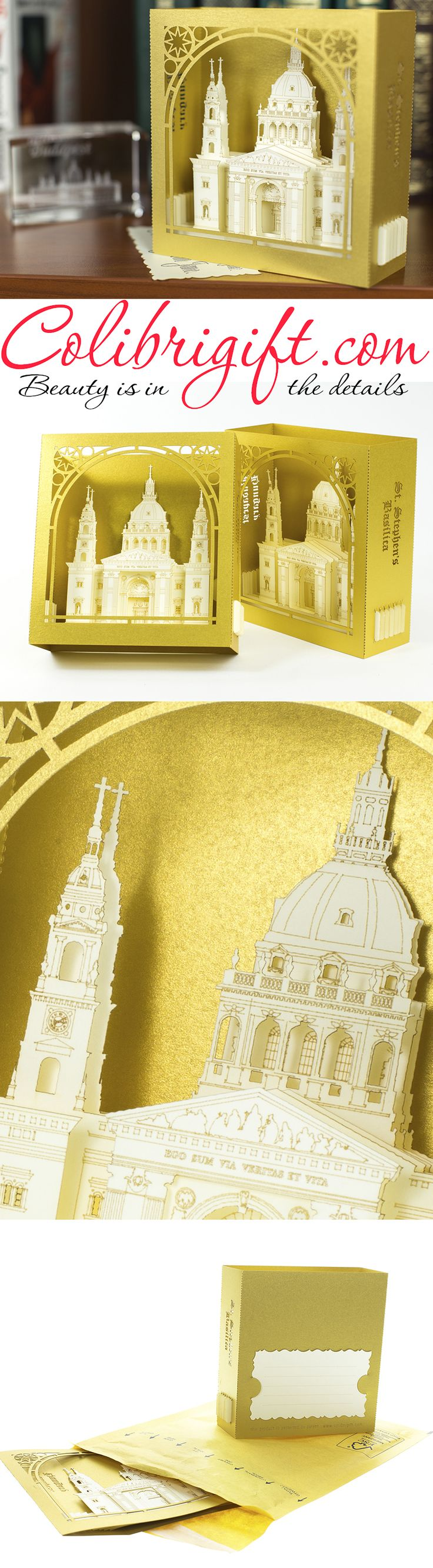 #Budapest #Saint #Stephen's Basilica #Greeting card #birthday card #unique gift #gift card #Hungary #origami #kirigami #Colibrigift
