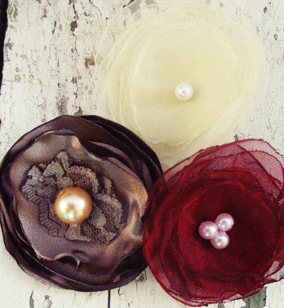 3 Golden Wedding hair fabric flowers handmade by FlowersByKara, $12.50