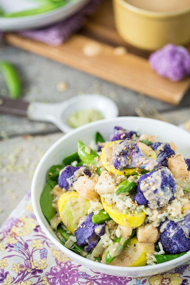 Spring Veggie Bowl with Jade Pearl Rice, Kohlrabi, & Coconut Tahini Sauce #vegan #glutenfree | Keepin' It Kind