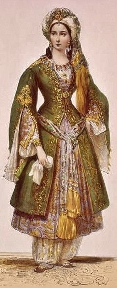 Turkish well-to-do lady from Istanbul.  Late-Ottoman, 1800-1850.