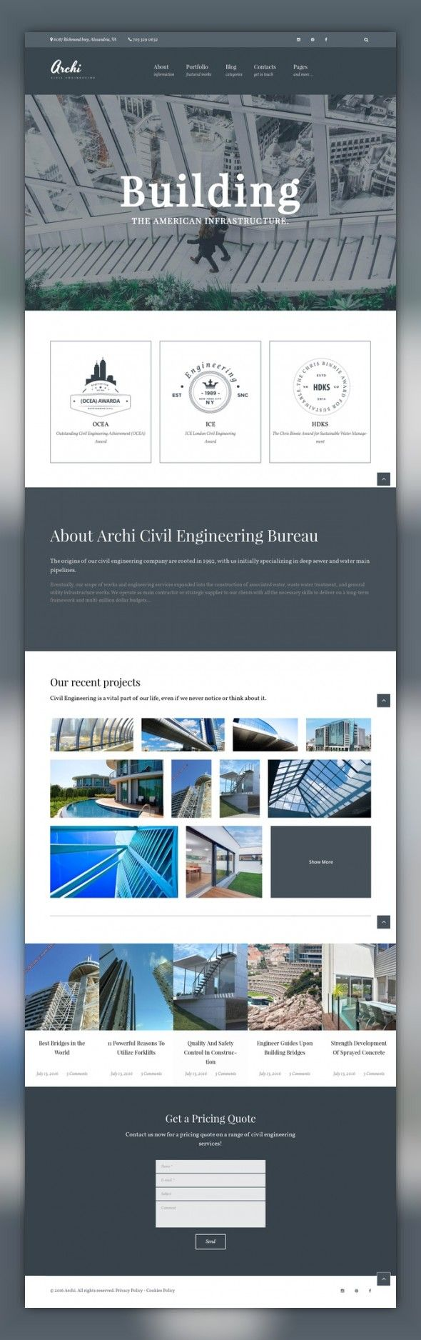 Archi - Civil Engineering And Architecture WordPress Theme CMS & Blog Templates, WordPress Themes, Business & Services, Industrial Templates, Civil Engineering Templates Archi is a modern responsive Architecture Portfolio WordPress Template designed for corporate websites of a broad range. Powered by Cherry Framework 5