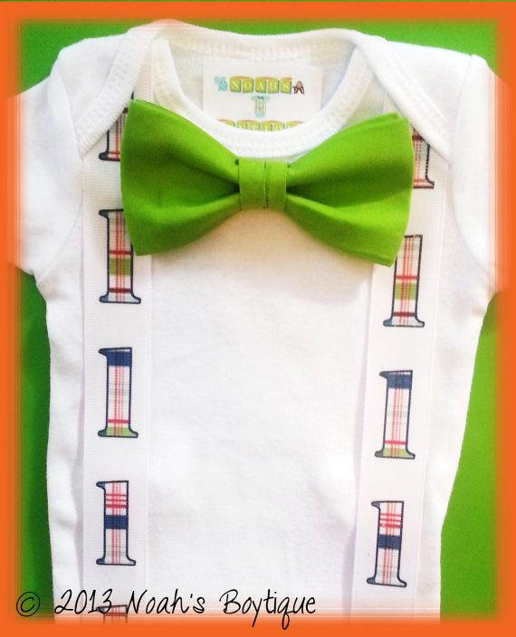 """Boys First Birthday Outfit - First Birthday Number Outfit - 1st Birthday Boy - Baby Boy Clothes - Pastel Plaid Number One Suspenders by Noah""""s Boytique, $16.00"""