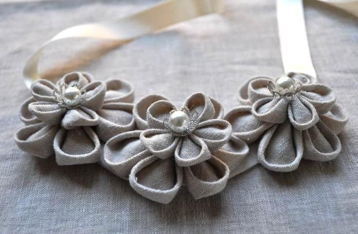 Au Naturel Kanzashi Fabric Flower Necklace by Chomel