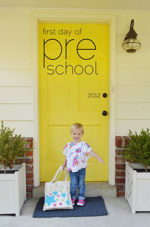 love this first day of school shot over on young house life @Sherry @ Young House Love
