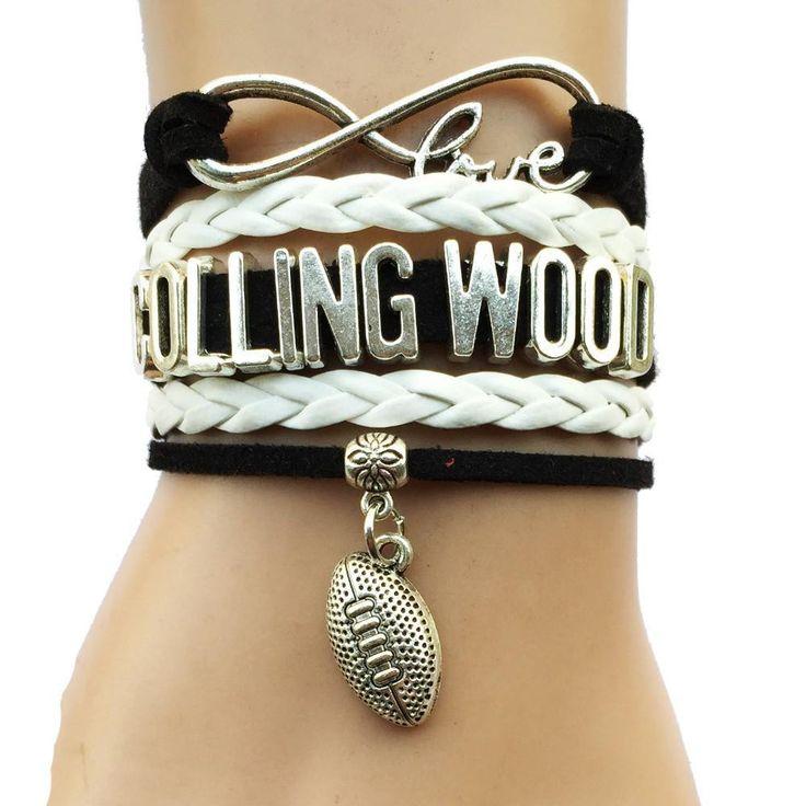 Infinity Love Collingwood Magpies Football Bracelet BOGO