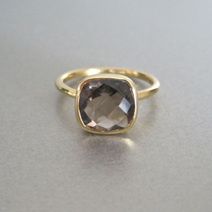 Semi Precious Smokey Quartz Square Gold Ring by Tangerine Jewelry Shop | Tangerine Jewelry Shop