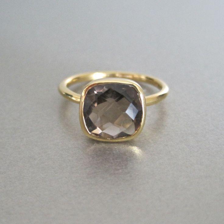 Semi Precious Smokey Quartz Square Gold Ring by Tangerine Jewelry Shop | Tangerine Jewelry Shop