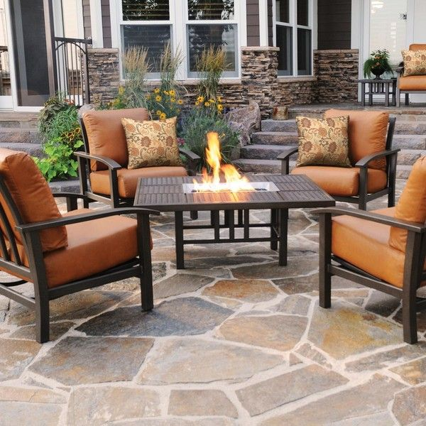Homecrest Midtown 5-Piece Cast Aluminum Fire Pit Conversation Set -... ($8,462) ❤ liked on Polyvore featuring home, outdoors, patio furniture, patio fire pits, aluminum patio furniture, outdoor fire pit and conversation patio sets