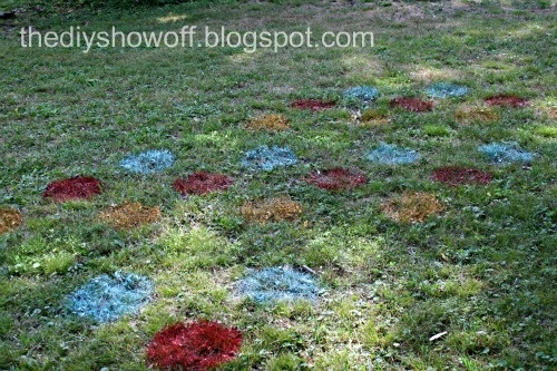 Outdoor Twister!  Can do this with spray paint, or colored flour.