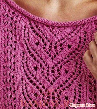 """Женский пуловер с рукавами реглан выполнен лицевой гладью и украшен насыщенным ажурным рисунком.  Описание вязания пуловера от дизайнера Martin Storey переведено из журнала """"Simply Knitting""""."""