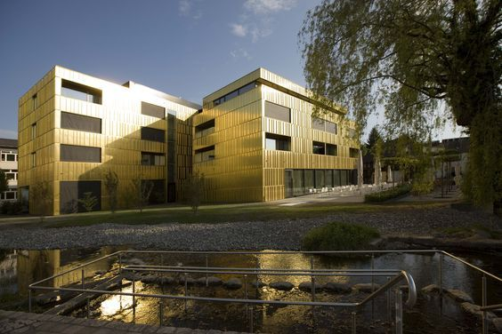 Brass clad hotel near Lake Constance. http://copperconcept.org/en/references/hotel-am-see-hard-austria Image: Christine Andorfer