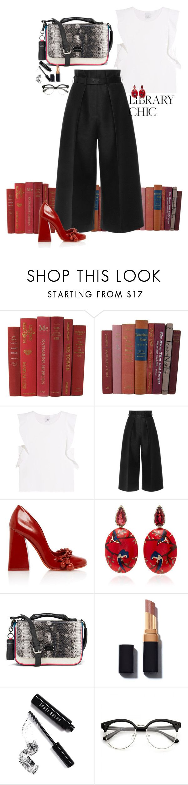 """books are chic"" by claire86-c ❤ liked on Polyvore featuring Iris & Ink, Martin Grant, Silvia Furmanovich, Paul's Boutique, Bobbi Brown Cosmetics, contest, contestentry and librarychic"