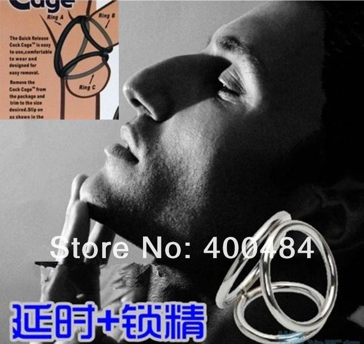 Металл Кольцо Пениса Cock Cage Тройная Спираль Enhancer Мужской Задержки Секс Передач Для Взрослых Секс Игрушки YC1042