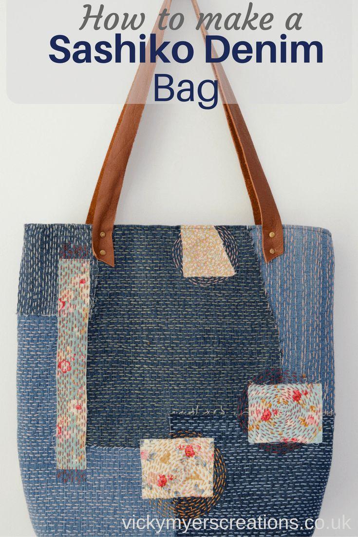 Make a sashiko denim bag, use up scraps of denim to make a unique one off upcycled bag. Step by step tutorial for denim embroidered bag.