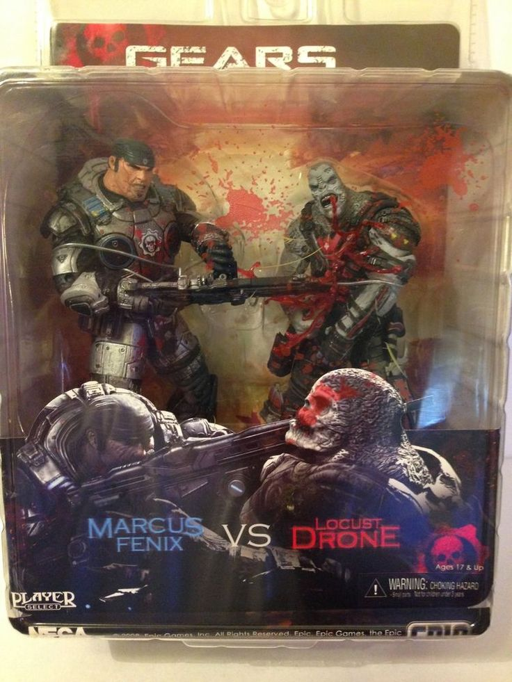 Gears of War 2 NECA Action Figure 2-Pack Chainsaw Marcus vs Locust Drone RARE #NECA