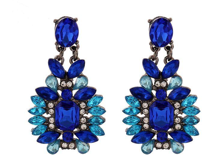 Party Blink Blink Blue Gemstone Earrings, Fashion Bohemian / Indian Hippie Large Summer Earrings, Holiday Chandelier / Tassel Earrings by Deptgoldenpineapple on Etsy