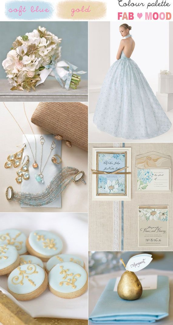 Blue and Gold Wedding Colours Palette | http://www.fabmood.com/blue-gold-wedding-colour-mood-board/