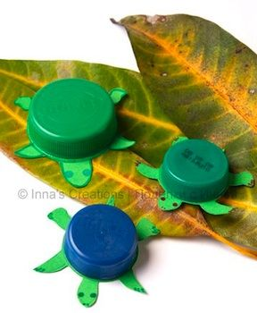 Awesome bottle top turtles from...A place for Amy: Recycled Craft Ideas for the Kids...