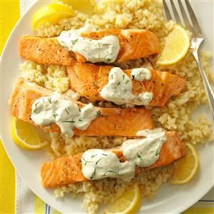 Salmon With Dill Sauce Lemon Risotto