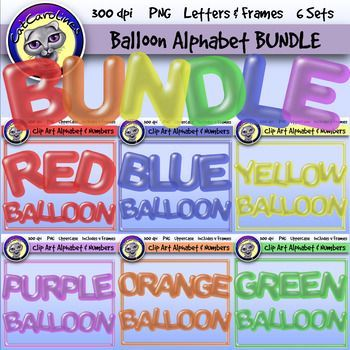 Save 25% with this bundle which includes all six of my balloon clip art letters products! These include uppercase letters, numbers, certain special characters and frames (in four different shapes each) in red, blue,green,orange, yellow and purple. This download includes a PDF file with the link to the product on Drop Box.