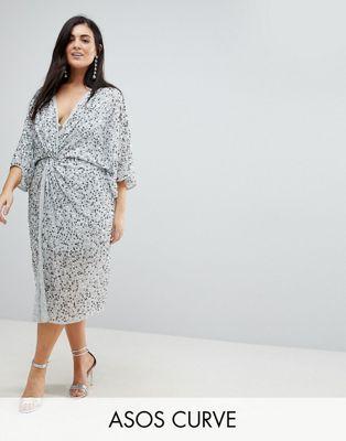 ASOS CURVE Sequin Kimono Midi Dress