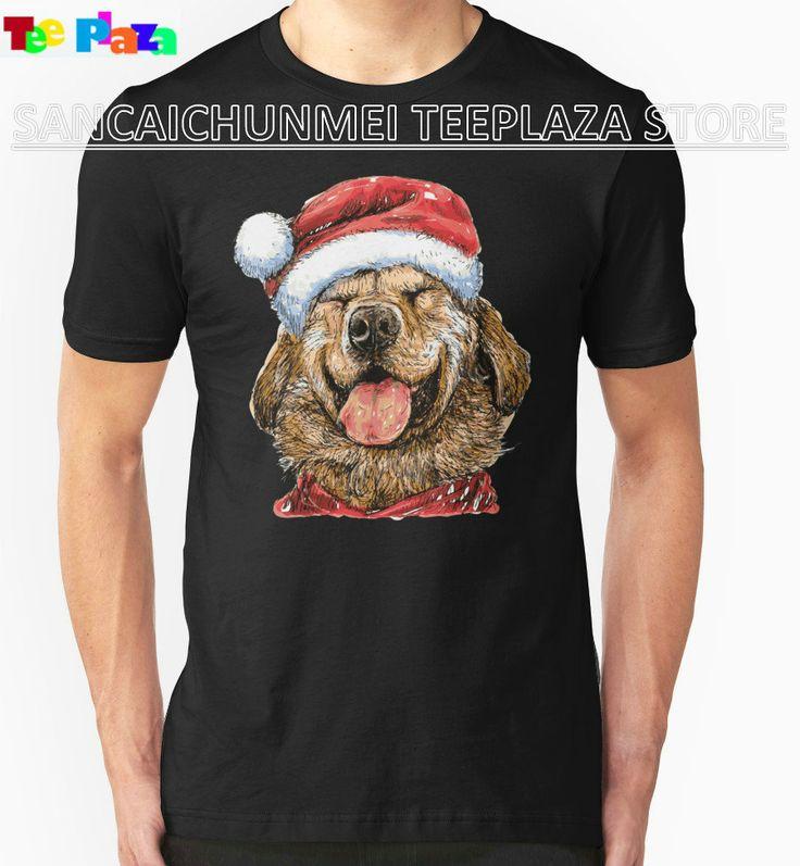 2017 Sale New Arrival Teeplaza T Shirt Printing Company Fashion Men Short-sleeve Labrador Retriever With Santa Claus Hat Shirts
