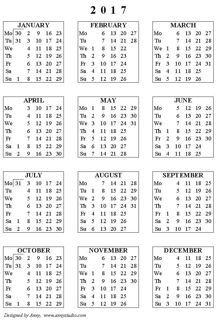 Calendar Black And White : Printable calendar weeks start on monday black and