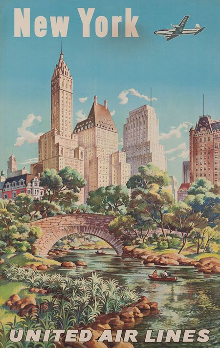 Classic United Airlines Poster for New York City -- Central Park almost looks like a jungle, the way it's painted.