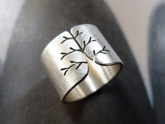Statement silver ring, fall tree, autumn mood, minimalist, birthday gift for wife, for mother, for woman, 40th birthday girt, all size Statement silver tree ring I sawed an autumn tree into a Sterling silver sheet. Sanded and polished to matte finish. My own copyrighted design, the ring is