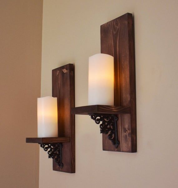 Rustic Wall Decor Wall Sconce Set Of 2 Modern Rustic Wood Etsy Wooden Candle Sconces Wall Candle Holders Wall Candles