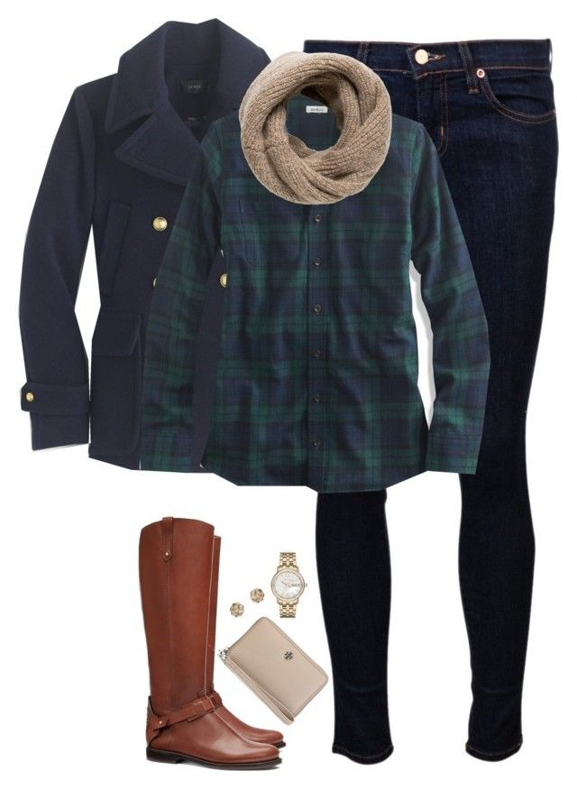 """Navy pea coat, plaid shirt & knit scarf"" by steffiestaffie ❤ liked on Polyvore featuring J Brand, J.Crew, L.L.Bean, Tory Burch, MANGO, Marc by Marc Jacobs and Dorothy Perkins"