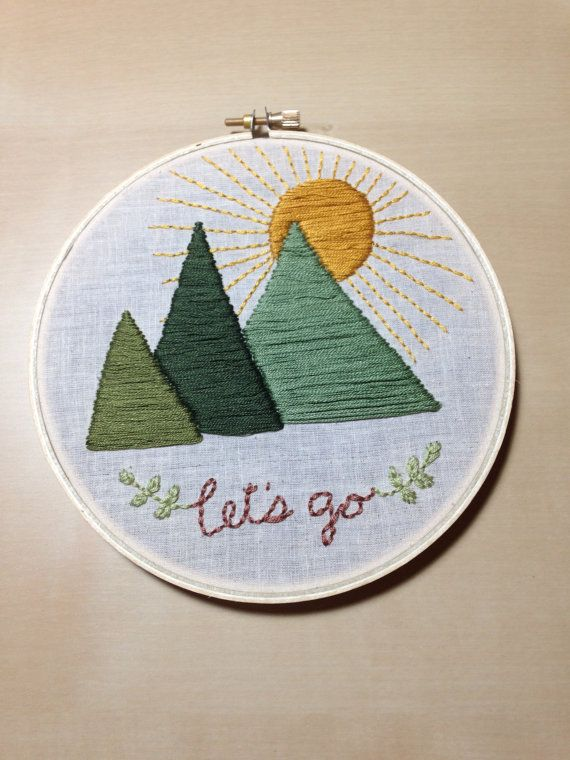 Let's Go to the Mountains Embroidery Art in 6-inch Hoop on Etsy, $75.00