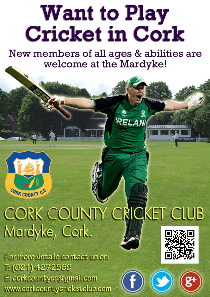 If you are new to #Cork or a dye in the wool Corkonian and want to play #cricket then please contact us at the Mardyke on 021-4272569 or corkcountycc@gmail.com. New members of all ages and abilities are welcome!  #CCCC