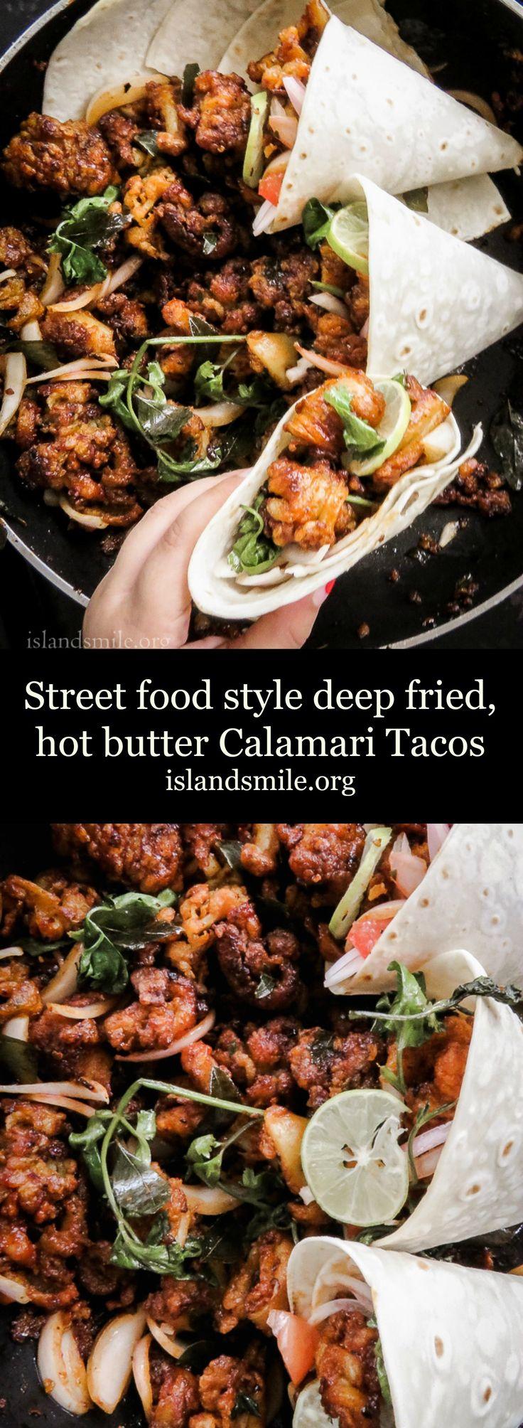 Street food style deep fried, hot butter Calamari Tacos image