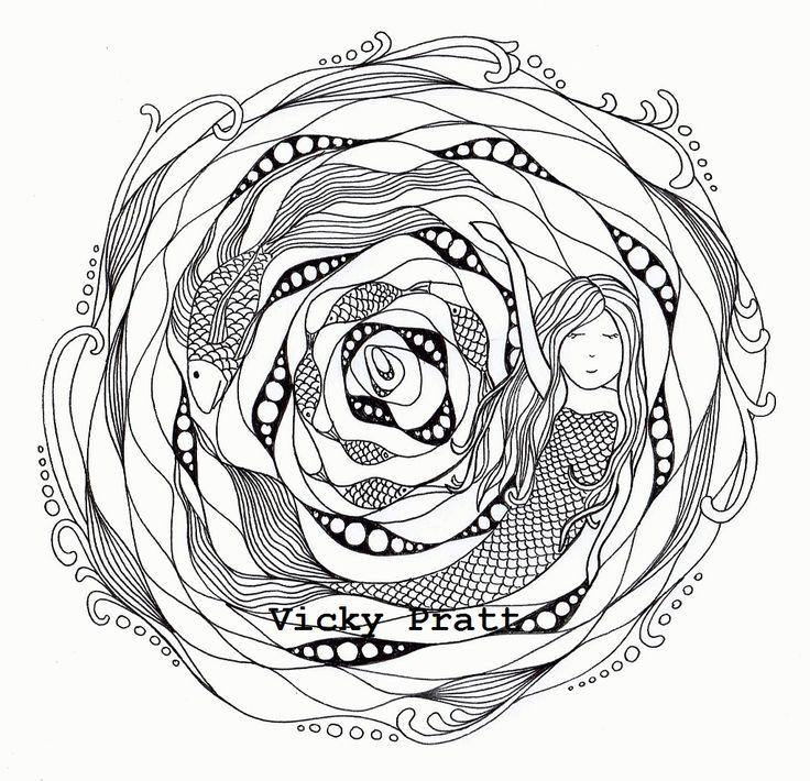 Week 41. Black and white. Unipin .1 fine liner on bleedproof paper. Underwater Mermaid zentangle .vicpratt.wix.com/... Find me on Facebook Vicky Pratt - Illustrator