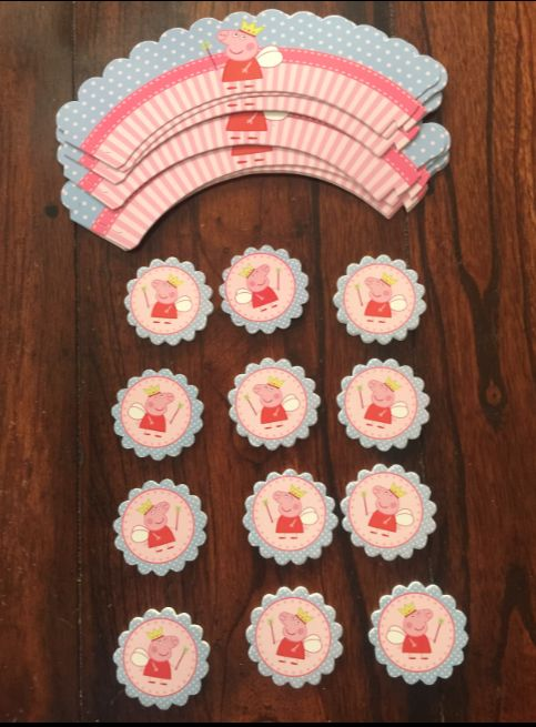 PEPPA PIG CUPCAKE TOPPERS AND WRAPPERS BIRTHDAY PARTY SUPPLIES SET OF 24