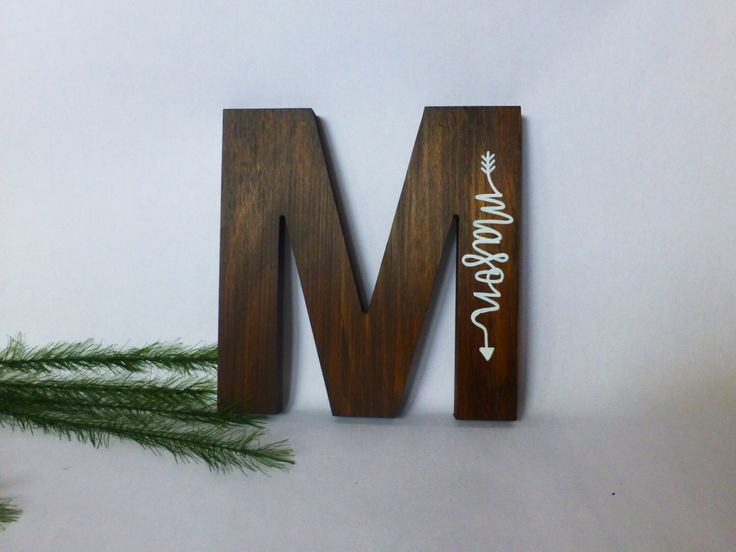 Wood Initial Sign - Hand Painted Name - Wooden Letter - Nursery Wall Art - by PicklesPaintingCo on Etsy https://www.etsy.com/listing/480819658/wood-initial-sign-hand-painted-name