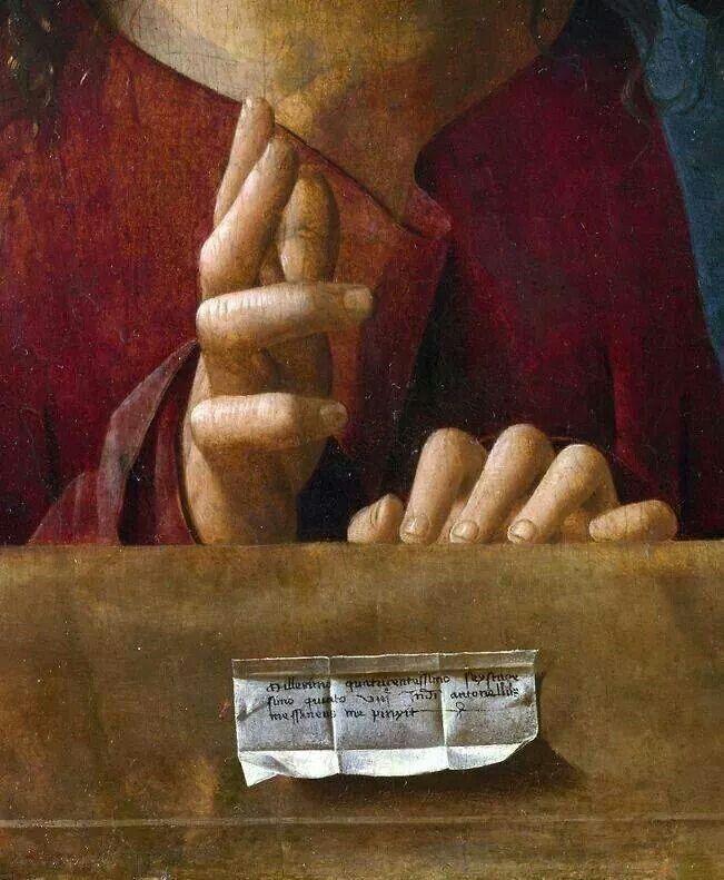 Antonello da Messina, detail, Salvator Mundi, National Gallery, London