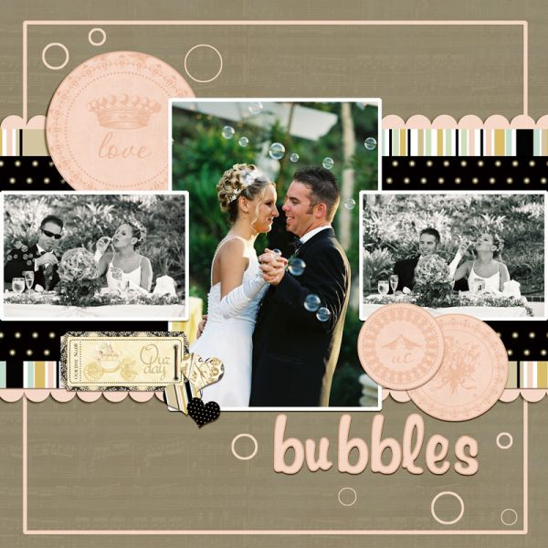 using Webster's Pages In Love collection in digital format.Wedding scrapbook layout