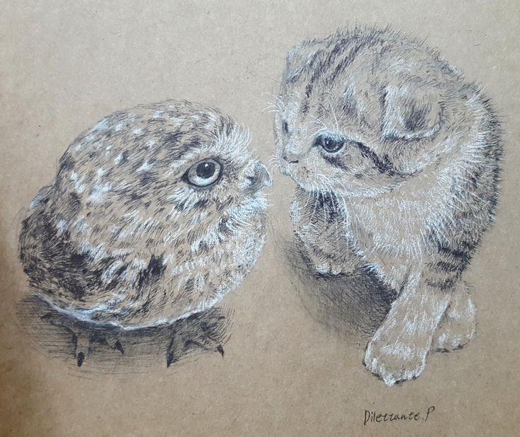 오랜만에 그림... #draw #drawing #art #illustration #picture #owl #cat #kitty #friend #friends #friendship