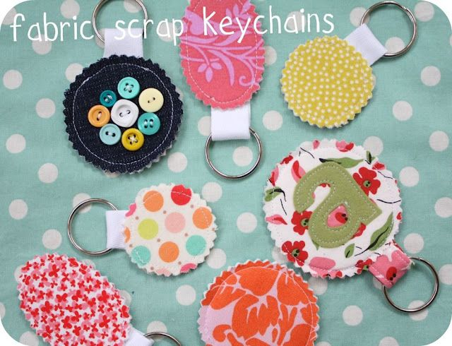 fabric scrap key chain,      *fabric scraps  *medium weight iron on interfacing  *small piece of Pellon Peltex one sided iron-on interfacing. This stuff is really stiff and is almost like cardboard but you can sew right through it.   *twill tape or grosgrain ribbon  *key ring   *pinking shears   *buttons, felt, for embellishing  *thread, sewing stuff