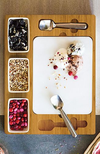 Cold Stone Creamery at home: Freeze the marble slab for several hours, fill the dishes with sweet and savory mix-in ingredients, and mix up special ice cream or frozen yogurt treats with the spades.