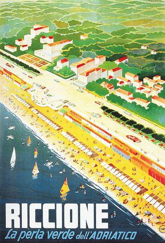 Vintage Italian Posters ~ #Italian #vintage #posters ~ Riccione - Manifesto