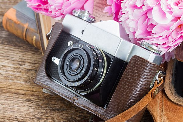 Retro photo camera with books and peony flowers by Anastasy Yarmolovich #AnastasyYarmolovichFineArtPhotography  #ArtForHome #vintage