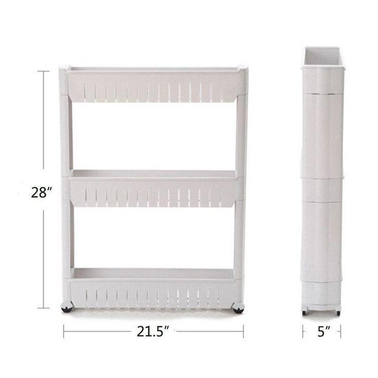 1 Pc White Gap Storage Shelf For Kitchen Storage Skating with movable Bathroom Shelves Save Space 3 and 4 layers High Quality
